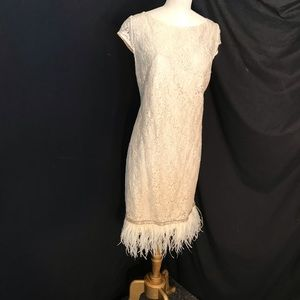 Wow!!  Ostrich Feathers! Kay Unger Art Deco Dress